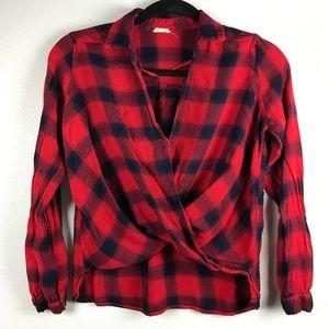3/$20 Hollister Surplice Plaid High Low Flannel